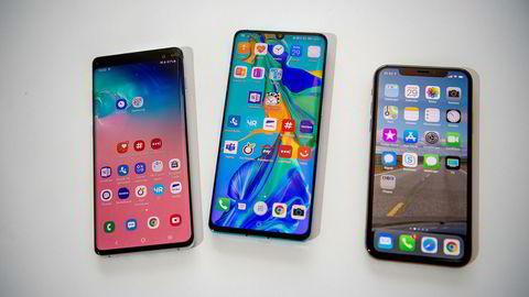 De tre beste smarttelefonene, Samsung Galaxy S10+, Huawei P30 Pro og Apple Iphone XS, får omtrent samme karakter i tester. Men dine preferanser avgjør hvilken du bør velge.