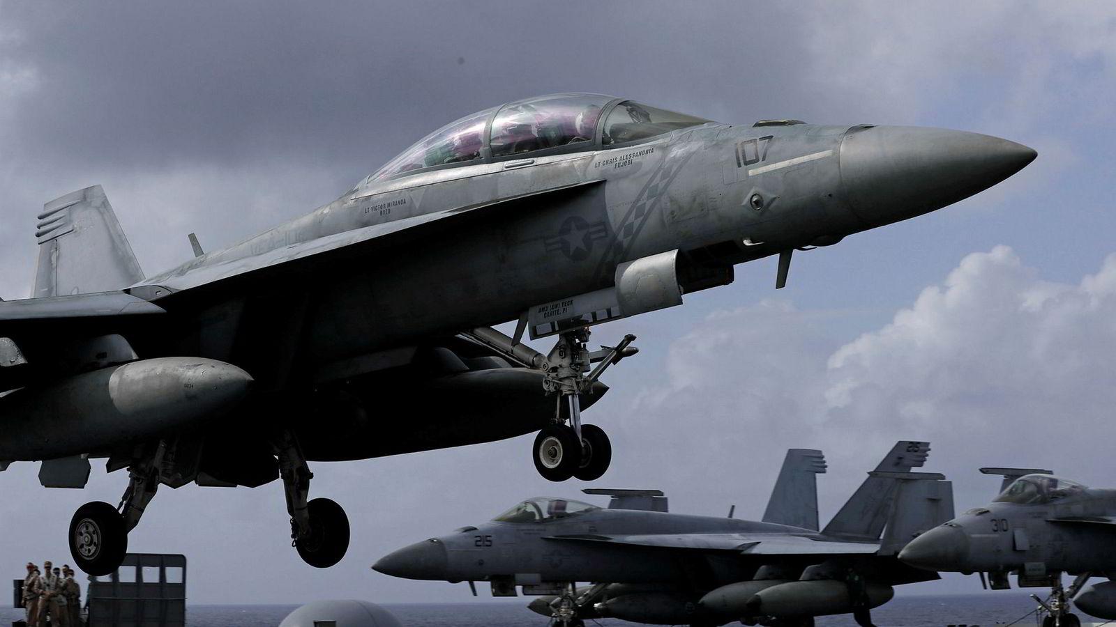 Ett av flyene som var innblandet i ulykken var et F/A-18 kampfly.