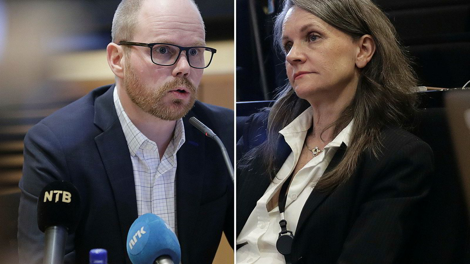 Ansvarlig redaktør Gard Steiro og politisk redaktør Hanne Skartveit i VG på pressekonferansen onsdag kveld.