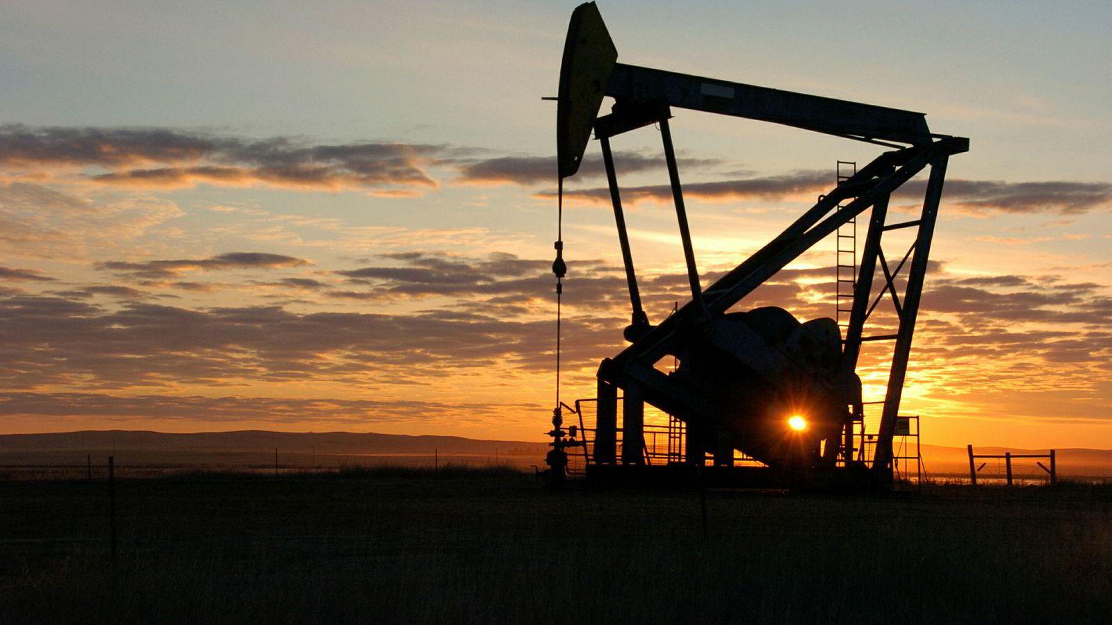 En oljepumpe her avbildet i det gigantiske Bakken-oljefeltet i USA.