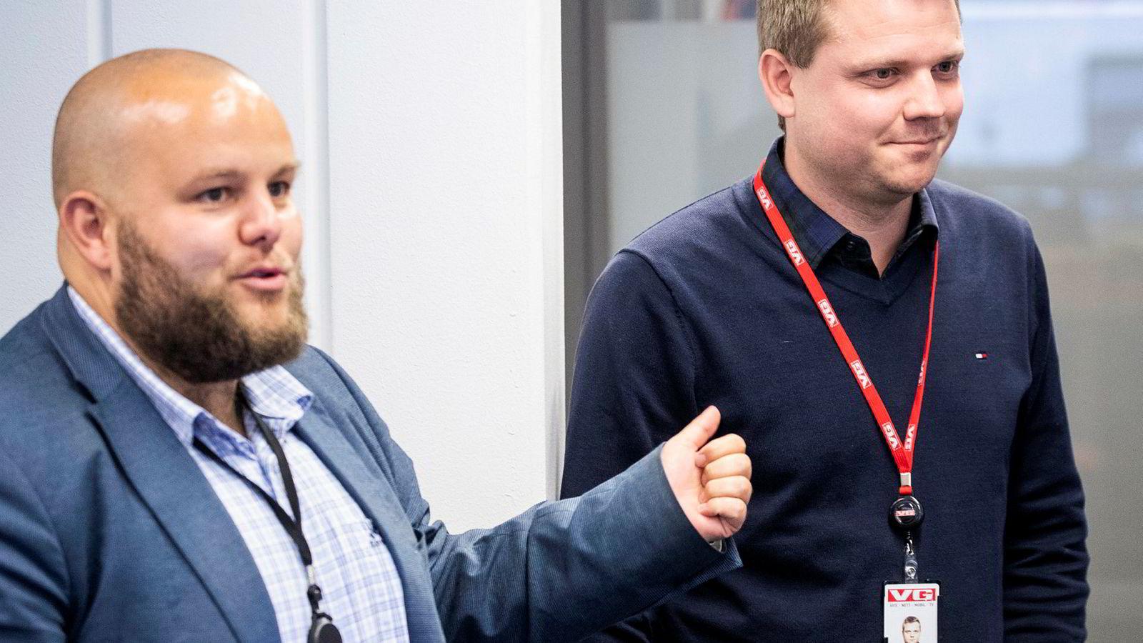 Lars Håkon Grønning blir introdusert som ny nyhetsredaktør i E24 av sjefredaktør Gard L. Michalsen.