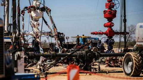Her fra en fracking-operasjon på et av Conoco Phillips-anleggene i Eagle Ford i Texas.