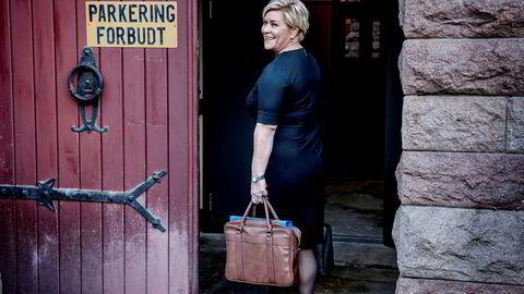 Finansminister Siv Jensen i forbindelse med at hun la frem statsbudsjettet tidligere i oktober.