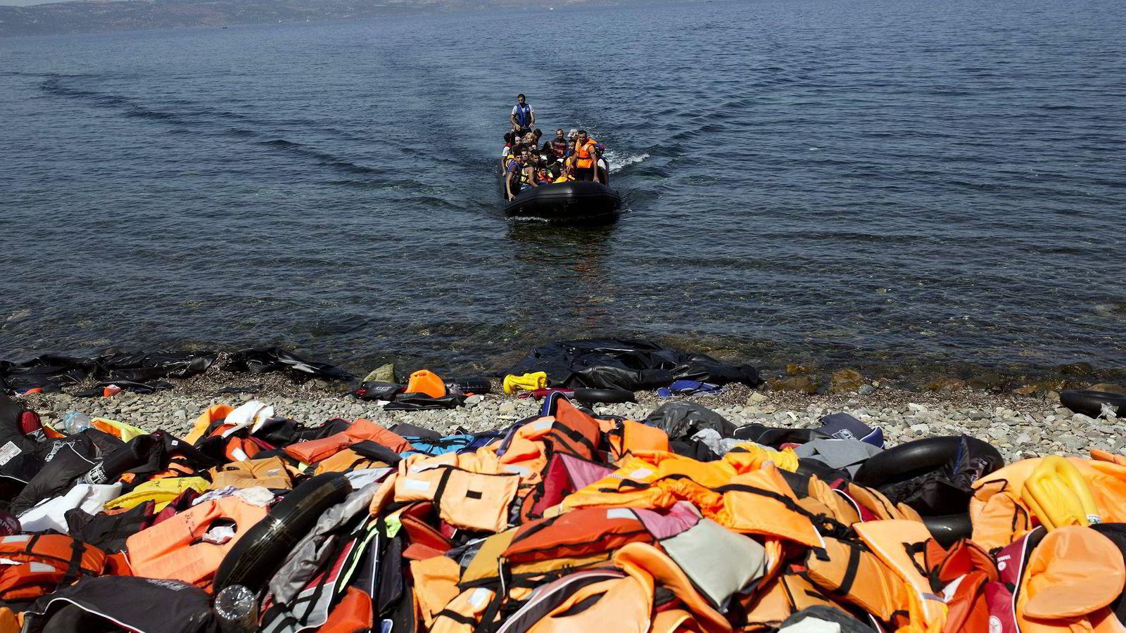 De fleste syrere som reiste over havet til Hellas, brukte bare Tyrkia som transitt fra krigsherjede Syria. Foto: Angelos Tzortzinis, AFP/NTB Scanpix