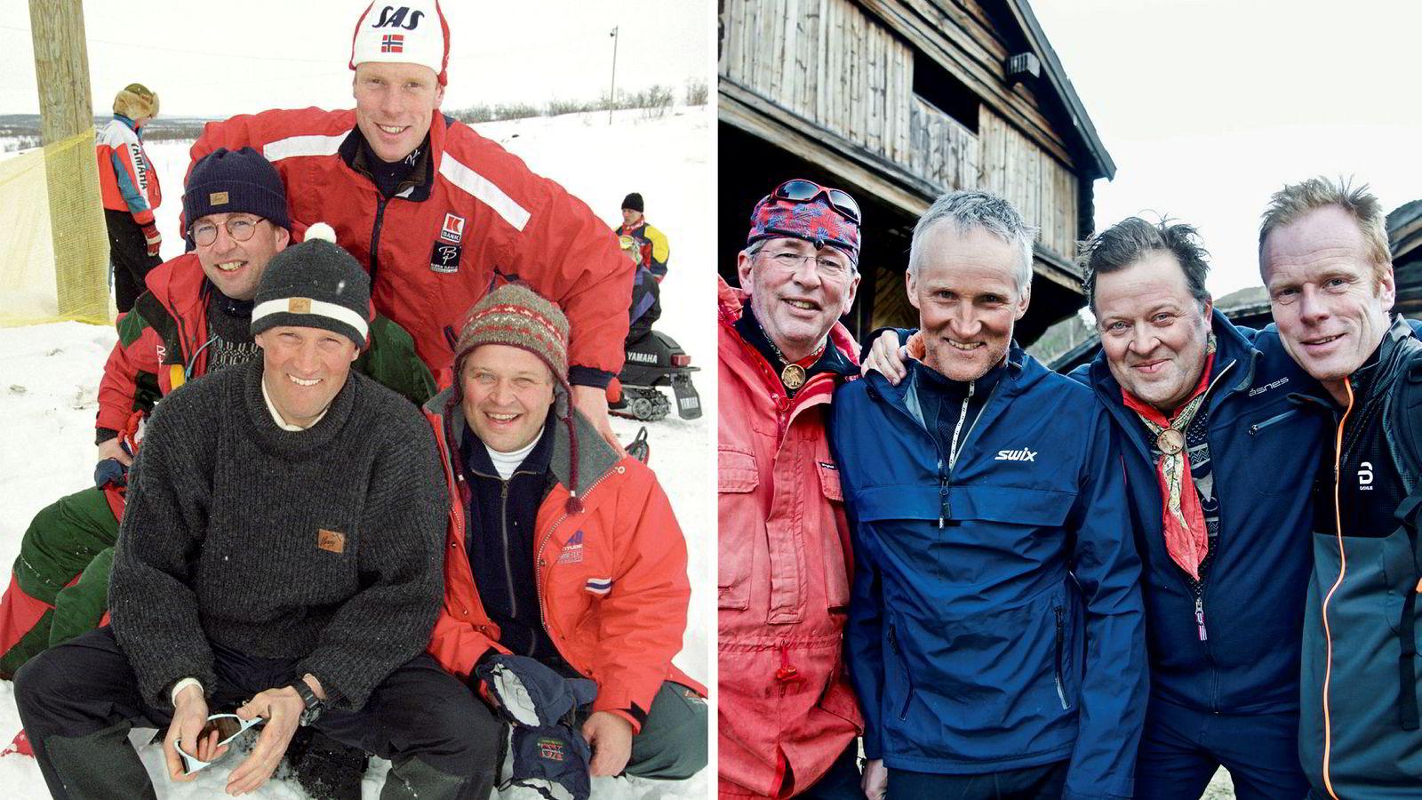Denne høsten er «Gutta på tur» med Arne Brimi, Arne Hjeltnes, Vegard Ulvang og Bjørn Dæhlie tilbake på skjermen for tiende gang. Her er gutta i Davos i Sveits i 1996, ett år etter at tv-programmet hadde premiere, og under nye opptak i 2017.