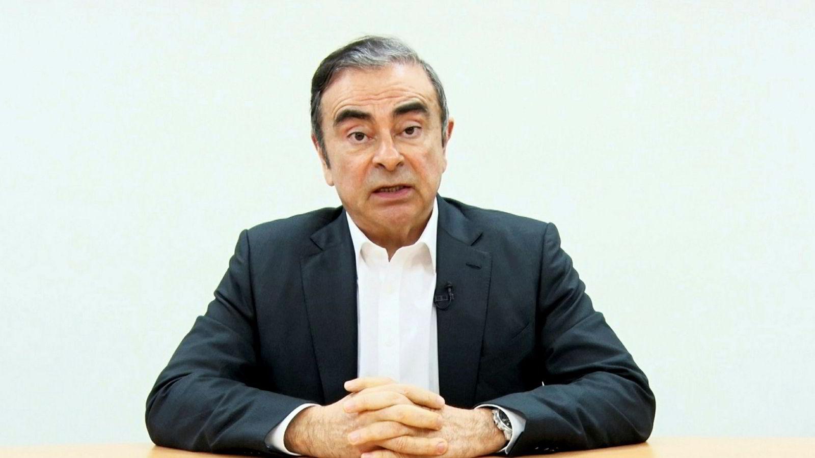 Videoen av Carlos Ghosn skal være spilt inn kort tid før Ghosn ble pågrepet på nytt av påtalemyndigheten i Tokyo 4. april.