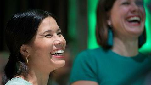 Oslobyrådene Lan Marie Nguyen Berg og Hanna Elise Marcussen på MDGs valgvake på Sentralen.