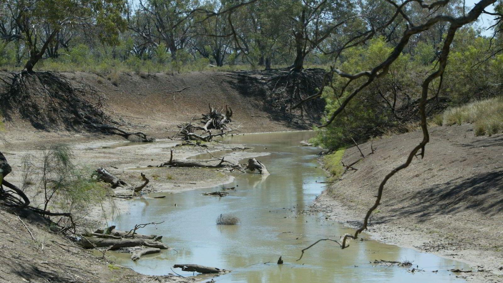 KLIMA: En rekke land og områder kan bli hardt rammet av vannmangel om bare noen tiår. Verst er det at grunnvannet tappes. På bildet en nesten uttørket elv ved Trangie nesten 500 kilometer fra Sydney i Australia. Foto: Rob Griffith/AP Photo/NTB scanpix