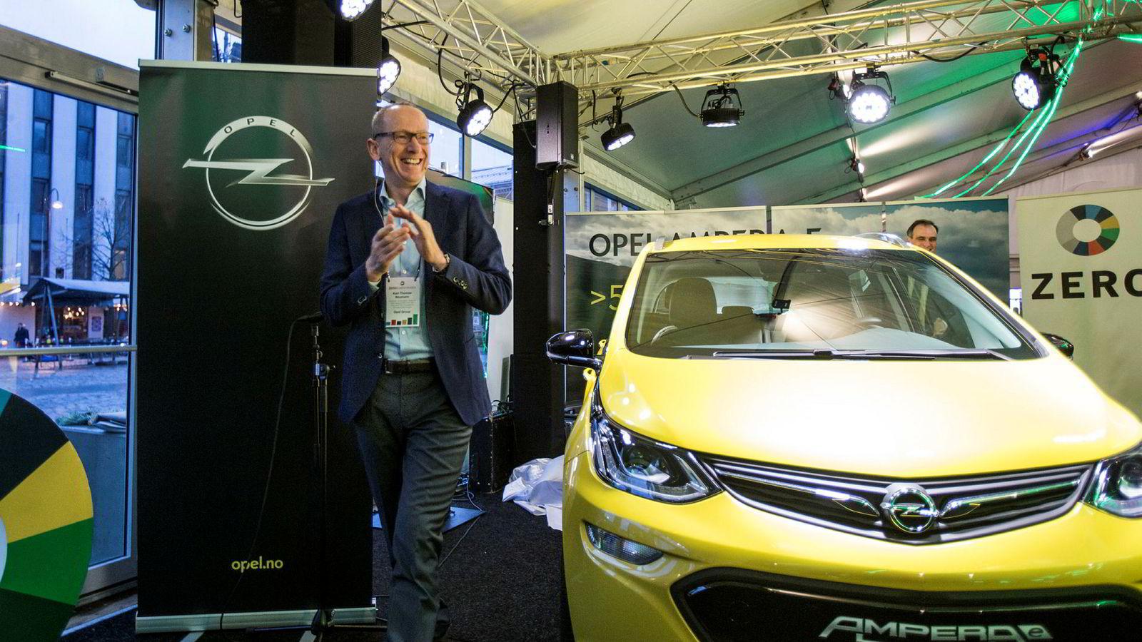 Opel-sjef Karl-Thomas Neumann presenterte Ampera, Opel nye elbil, under årets Zero-konferanse.
