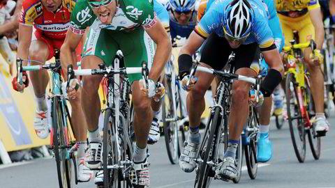 Thor Hushovd har gjort stor suksess i aksjemarkedet etter han la opp som proffsyklist i 2014. Bildet viser Hushovds målgang som vinner av den andre etappen i Tour de France i 2008.