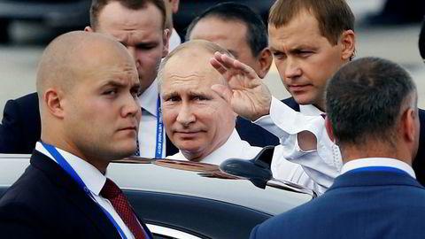 President Vladimir Putin benekter at Russland blandet seg inn i det amerikanske valget. Amerikansk etterretning er uenig. Her ankommer Putin Apec-møtet i Danang i Vietnam sist helg.