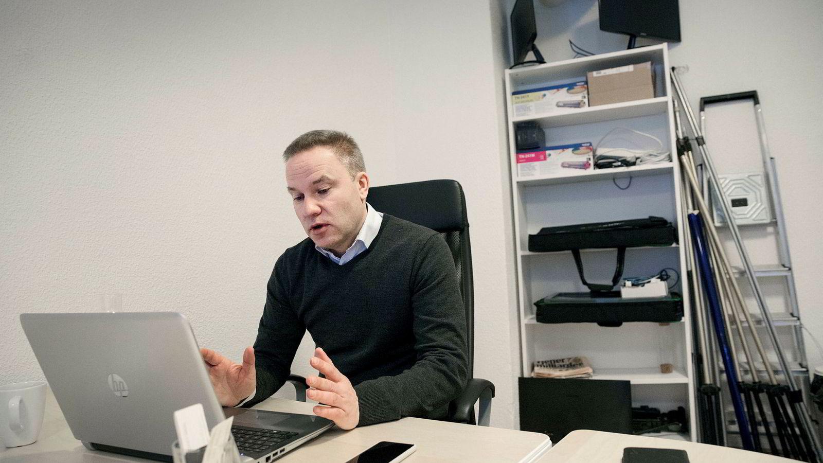 Ansvarlig redaktør i Resett, Helge Lurås, i nettstedets lokaler Oslo sentrum.