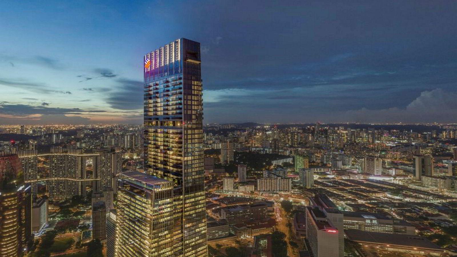 Luksusboligkomplekset Wallich Residence, del av hotell-og forretningsbygget som reiser seg i Tanjon Pagar Centre i Singapore, slik det vil se ut når fullført.