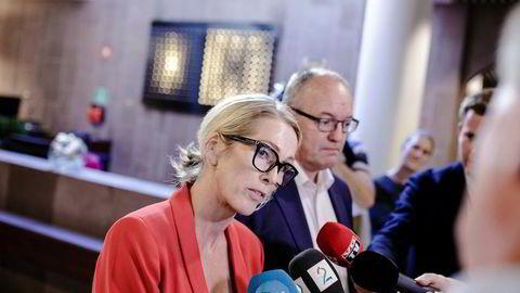 Nåværende styreleder Gunnar Bovim og administrerende direktør Anita Krohn Traaseth i Innovasjon Norge møtte pressen om ansettelsen av Katharina Andresen i forrige uke.