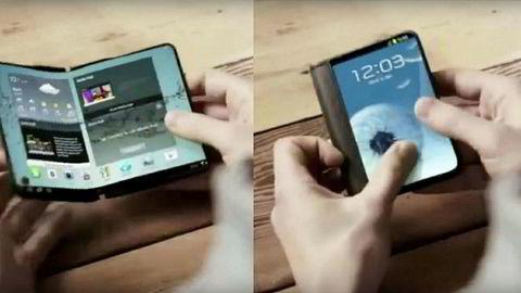 Samsung Folding Phone: Dette bildet er hentet fra en video som ved en feil ble lagt ut på Samsungs nettsider. Samsung bekrefter at de ønsker å være først i verden med bøyelige skjermer i smarttelefoner.