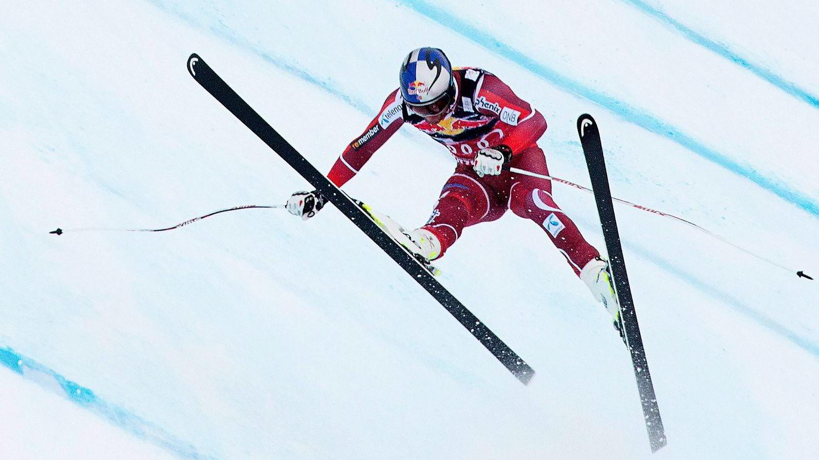 Aksel Lund Svindal skadet seg under utforløpet i alpin-VM i Kitzbühel i januar i år. Foto: Joe Klamar/AFP/NTB Scanpix