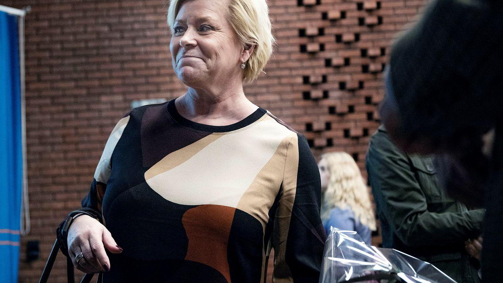 Siv Jensen hadde forelesning foran en fullsatt sal på Universitetet i Oslo mandag denne uken.