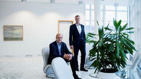 Morten Mauritzen, til venstre, er administrerende direktør i Point Resources fra og med i dag, mens Jan Harald Solstad, til høyre, går tilbake til partnerstillingen sin i HitecVision. Foto: Tommy Ellingsen Foto: Tommy Ellingsen