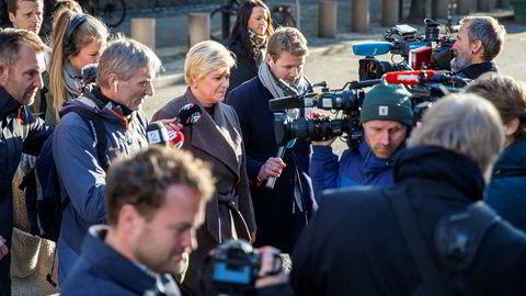 Finasminister Siv Jensen på vei til Stortinget for å legge frem statsbudsjettet 2020.