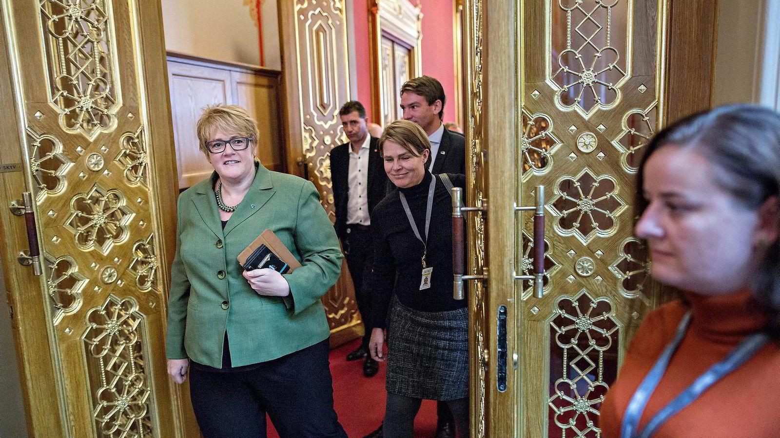 Trine Skei Grande bekrefter at hun informerte statsministeren på forhånd om Venstres holdning til asylhøringsforslaget.               Foto: Aleksander Nordahl