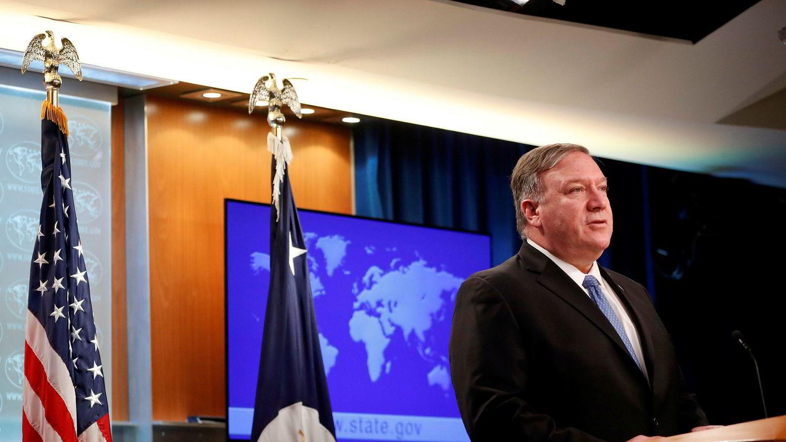 USAs utenriksminister Mike Pompeo sier de tar nødvendige skritt for å motvirke en mulig eskalering fra inransk side.