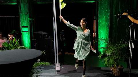 Oslobyråd Lan Marie Nguyen Berg i Miljøpartiet De Grønne jubler etter brakseier i Oslo.