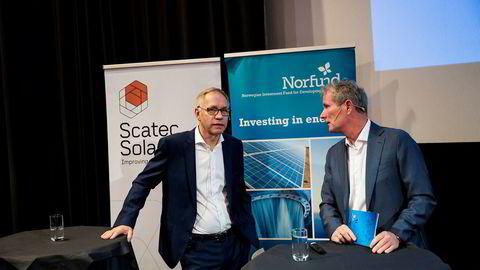 Scatec Solar-sjef Raymond Carlsen (til venstre) og Norfund-sjef Tellef Thorleifsson presenterte fredag transaksjonen mellom de to selskapene.