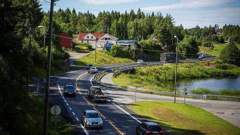 Her fra E18 mellom Arendal og Tvedestrand.