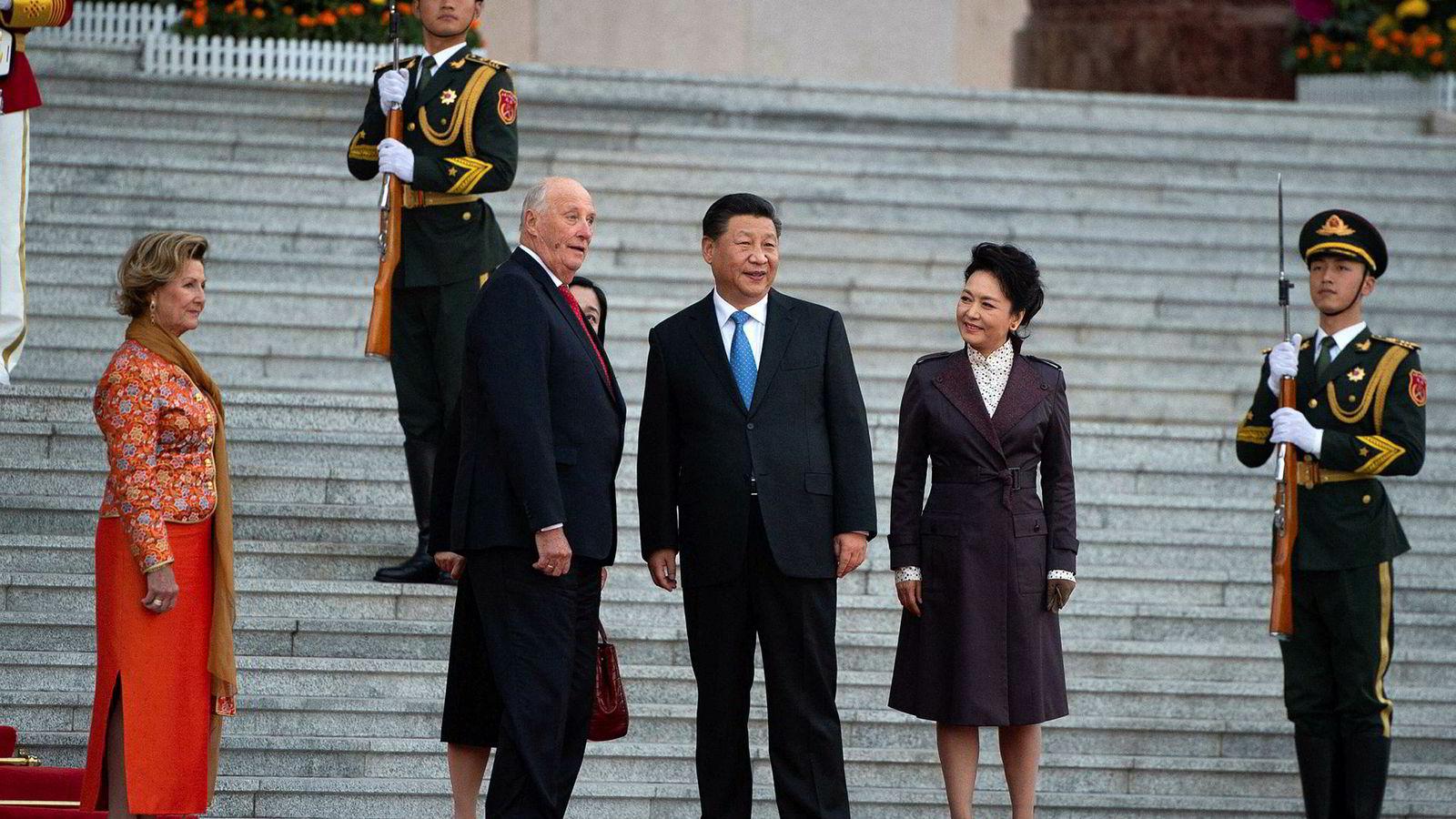 Kinas president Xi Jimping tok i mot det norske kongeparet tirsdag.