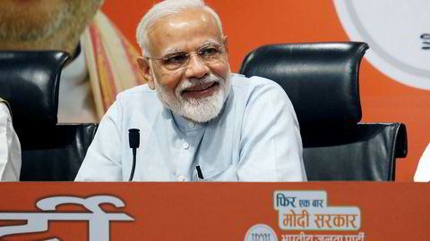 Narendra Modi, India's prime minister, reacts during a news conference at the Bharatiya Janata Party (BJP) headquarters in New Delhi, India, on Friday, May 17, 2019. Modi held what was supposed to be a press conference on Friday, his first in India after five years in power. Photographer: T. Narayan/Bloomberg ---