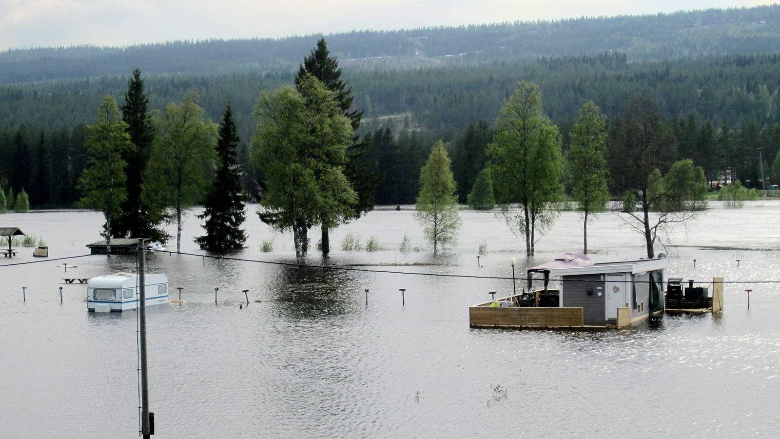 OVERSVØMMELSE. Fredag gikk Trysilelva over sine bredder og har blant annet oversvømmet campingplassen i Innbygda. Foto: Kari Hagevik Bakke,