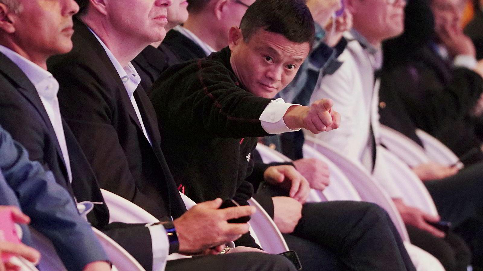 Alibaba-gruppens styreleder og med-grunnlegger Jack Ma på den årlige Singeldag-festivalen i Shanghai.