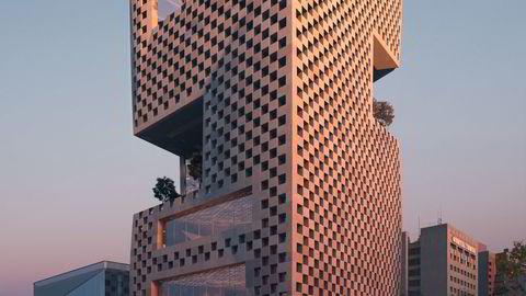 The Architect's Newspaper sammenligner estetikken med dataspillet Tetris. Illustrasjon: MIR/Snøhetta