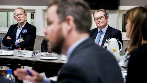 Skjønt enige om statseierskap? Næringsminister Torbjørn Røe Isaksen møtte onsdag ABG-sjef Knut Brundtland (til høyre) og et tyvetalls andre fra finansnæringen for å drøfte fremtidig forvaltning av det statlige eierskapet. Til venstre styreleder Bernt Bangstad i Aksjonærforeningen.