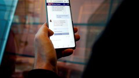 Bankene vil bruke kunstig intelligens og spareroboter til å gi kundene bedre råd – i dobbelt forstand. På bildet er Nordeas chatbot Nora, som kan svare på generelle henvendelser fra bankens kunder.