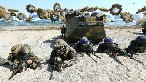Det blir ingen felles militærøvelse mellom USA og Sør-Korea. Bildet er fra en felles øvelse i 2016. Foto: Kim Jun-bum/Yonhap/AP/NTB Scanpix
