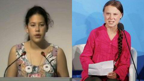 Det første store miljøtoppmøtet, i Rio i 1992, hadde også sin Greta, tolvårige Severn Suzuki fra Canada.