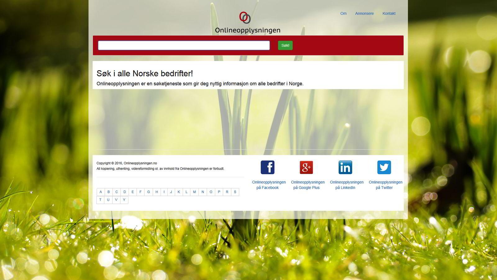 Nett-tjenesten Onlineopplysningen.