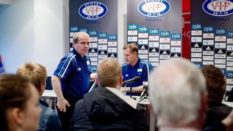 Vålerenga-direktør Stig Ove Sandnes og trener Kjetil Rekdal sliter med dårlig økonomi, men har medaljeambisjoner. Foto: Mikaela Berg