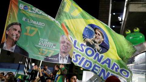 Tilhengere av Jair Bolsonaro feirer i Sao Paulo etter valgseieren.