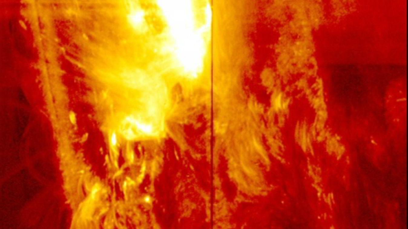 SOL: Kraftig solstorm på solens overflate. Foto: Nasa/Reuters/NTB scanpix