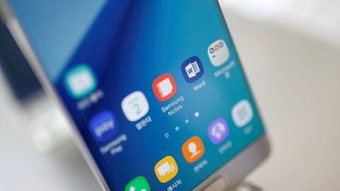 Samsungs toppmodell Galaxy Note 7 stoppes. Foto: Kim Hong-Ji / Reuters / NTB scanpix