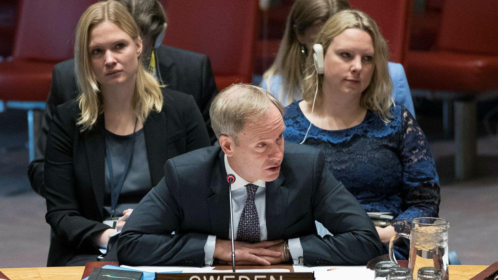 Sveriges FN-ambassadør Olof Skoog under et møte i FNs sikkerhetsråd.