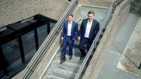 De to EQT-partnerne Anders Misund (fra høyre) og Magnus Tornling har stått bak eierskapet i industribedriften Autostore. Nå selger de etter under tre år og henter inn en gevinst uten sidestykke til EQTs investorer.