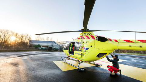 Luftambulanse-helikopter på oppdrag i Trondheim.