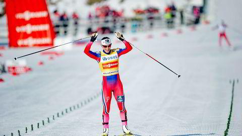 Oslo 20150315. Marit Bj¯rgen gÂr i mÂl til seier under verdenscuprennet i langrenn 30km fristil for kvinner i Holmenkollen i Oslo s¯ndag. Foto: Jon Olav Nesvold /
