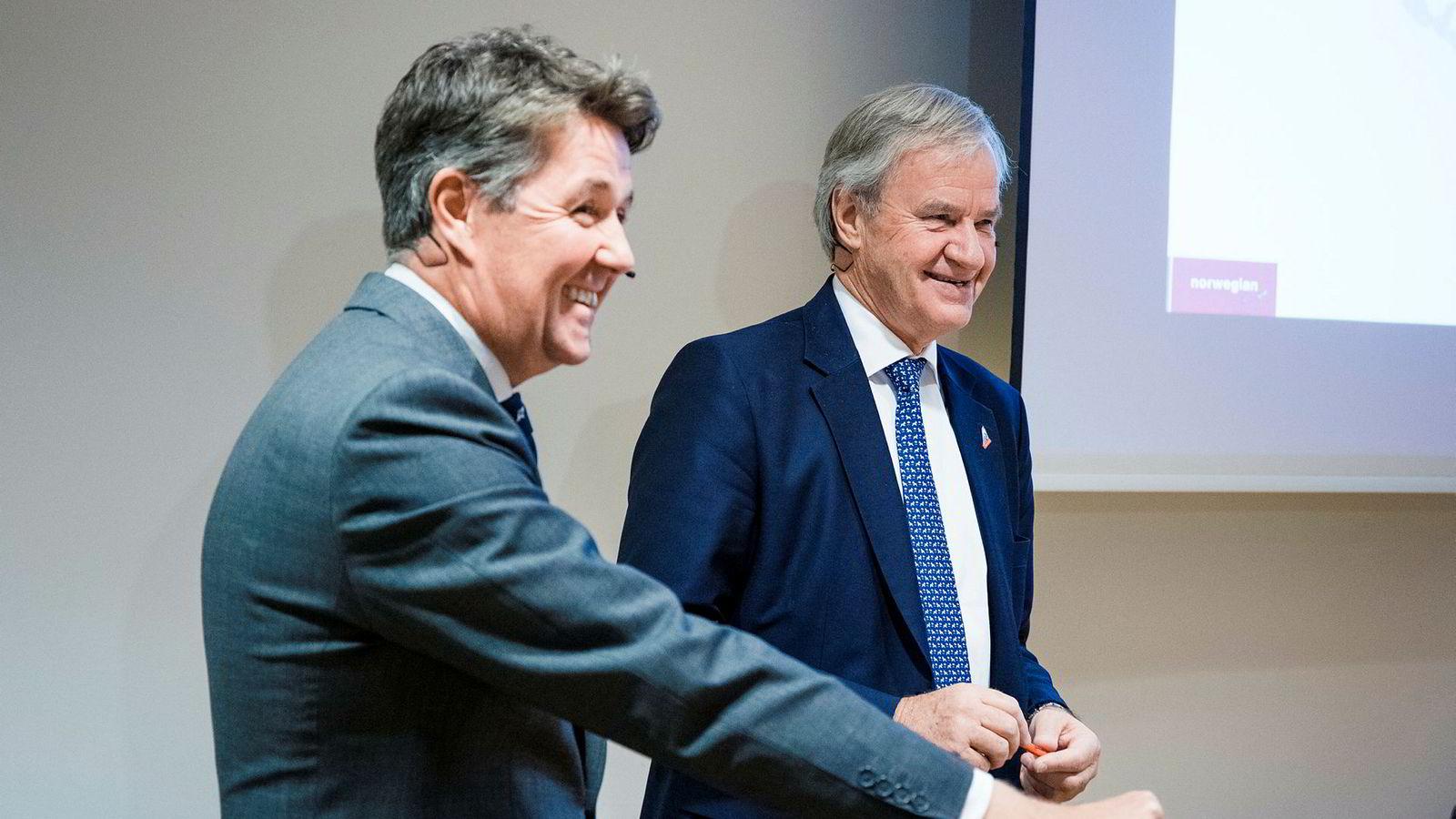 Geir Karlsen (til venstre) som finansdirektør under en tidligere kvartalspresentasjon i Norwegian. Nå blir han Bjørn Kjos' nestsjef.