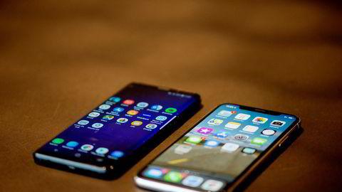 Nesten nye telefoner blir ofte byttet ut av teknologiglade nordmenn. Nå starter OneCall salg av brukte telefoner. Modeller som Galaxy S9 (til venstre) og Iphone X er populære.