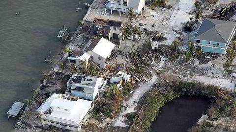 Ødelagte hus fotografert i Florida Keys mandag.
