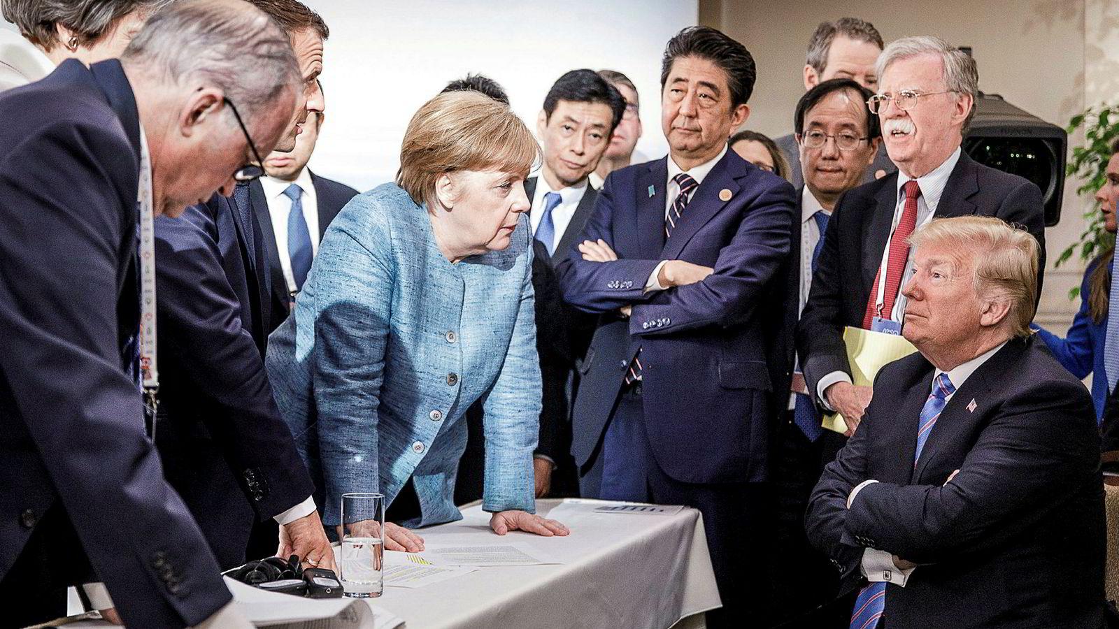 Forbundskansler Angela Merkel vant ikke gehør hos USAs president Donald Trump på G7-toppmøtet i Canada.